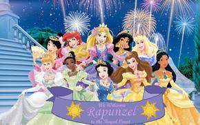 Walt Disney, Principessa, Bellezza, tribunale, saluto, Abiti, decorazione, Corona, Mulan, Ariel, Rapunzel, gelsomino, Aurora, Cenerentola, Tiana, Biancaneve, bella, Pocahontas