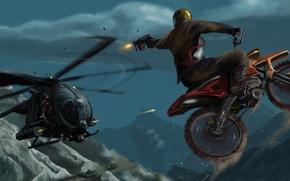 Arte, disegno, elicottero, Bicicletta, inseguimento, combattere, ripresa, manicotto