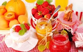 jam, Banks, jam, strawberry, cinnamon, orange, apricot