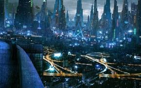 citt, futuro, Cyberpunk, semaforo