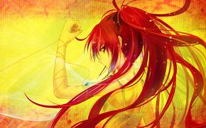 девушка, красные волосы, цепочка, кулон