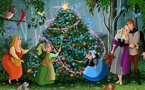 Bella addormentata nel bosco, Walt Disney, fanart, cartone animato, storia, Capodanno, Natale, abete, Principessa, Aurora, rosa, principe, Philip, Fata, foresta, Amici, Uccelli