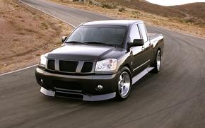 ниссан, Титан, Нисмо, концепт, джип, пикап, чёрный, передок, гоночный трек, Nissan