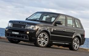 Лэнд Ровер, Ренж Ровер, Спорт, джип, передок, чёрный, небо, Land Rover