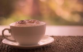 morning, coffee, Latte, skin, cinnamon, cup, saucer