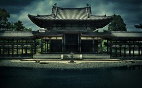 Храм, Феникса, ансамбль, Бёдоин, Япония, Киото, архитектура, здание, пруд, деревья, хмурое, небо