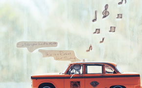 paper, little man, modelka, taxi, window, music, song, radio, music, words
