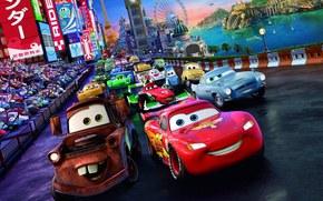 Tokyo Drift, Walt Disney, Cartoon, Tokyo, London, city, lights, Sport, race, machinery, track, World Grand Prix, championship, lightning, McQueen, Maitre, Finn MakMissl, spy, Francesco Bernoulli