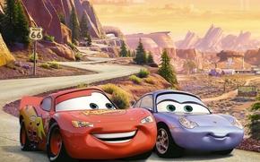 Walt Disney, Cartoon, Radiator Springs, Piston Cup, championship, lightning, McQueen, Sally Carrera, tour, pair