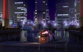 cars, Multachki, Maitre Renard, series, Cartoon, Walt Disney, Maitre, Tokyo, city, lights, building, Sport, race, machinery, truck