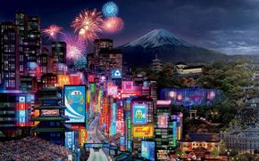 Tokyo Drift, Walt Disney, Cartoon, Tokyo, city, lights, building, salute, volcano, Fuji, mountain, Sport, race, machinery, track, World Grand Prix, lightning, McQueen, champion