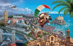 Desenho animado, esporte, Walt Disney, raa, Tokyo Drift, maquinaria, avio, parapente, World Grand Prix, Frana, Inglaterra, Itlia, campeonato, Maitre, caminho, Espio, agente especial, panorama, ver, paisagem