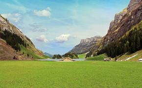 Svizzera, Montagne, casa, paesaggio, paesaggio, cielo, krutoten