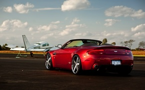 Aston Martin, wheelbarrow, red, cars, machinery, Car