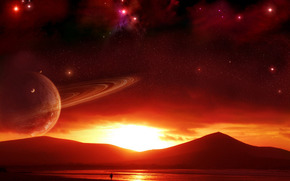 sky, space, Star, Planet, sunset, alien world, Mountains