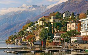 Аскона, Швейцария, горы, здания, деревья
