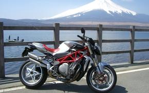 VM Augusta, Brutal, motorcycle, Bike, lake, mountain, Fuji, Motorcycles