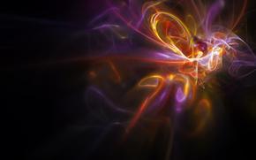 свет, цвет, световые линии, желтый, красный, фиолетовый
