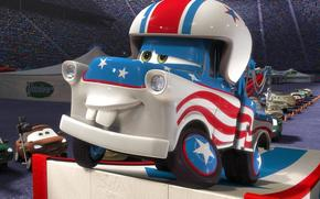 cars, Multachki, Maitre Renard, series, Cartoon, Walt Disney, Maitre, Sport, race, machinery, truck, podium, podium, tiers, flag, USA, band, Star