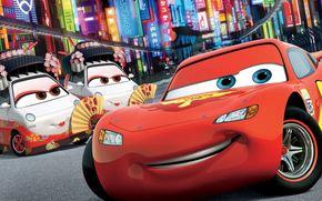 Tokyo Drift, Walt Disney, Cartoon, Tokyo, city, lights, building, advertising, neon, Sport, race, machinery, World Grand Prix, lightning, McQueen, champion, Geisha, Girls, white-toothed smile, masher, winner