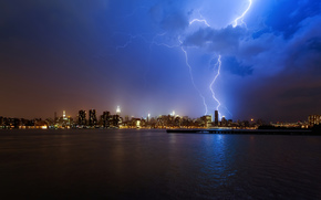 new york, city, night, Blue Sky, lightning, storm, lights, Skyscrapers, water, ocean, clouds, beautiful photos of the city