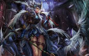 девушка, доспехи, оружие, валькирия, смотрит на зрителя, крылья, перья