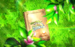 sky, garden, green, fantasy, Book, light, effect, mist, grass, particle, nature, plant