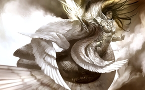angelo, spada, bianco