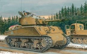 Medium Tank, m4a3e2, sherman, Art, picture
