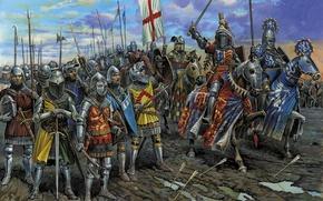 рыцари, битва, средневековье