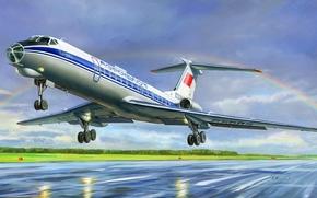 picture, A.Zhirnov, passenger, plane, Tupolev, aeroflot, USSR