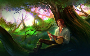 Art, guy, Les, Trees, lute