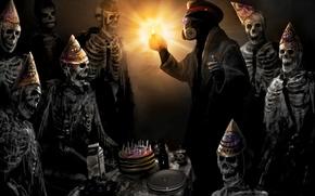 Romance of the apocalypse, cake, holiday, Skeletons