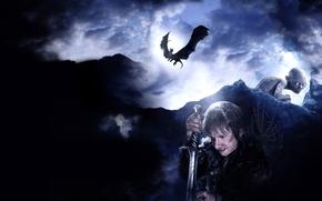 Hobbit, Andata e ritorno, un viaggio inaspettato, film, Peter Jackson, Bilbo Baggins, Gollum, drago, smog, tela, Pungiglione, Elven Dagger, spada, Montagne Nebbiose