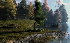 艺术, 景观, 房子, 河, 船, 石头, 树, 日出, 日落