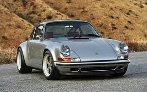 Porsche, front, silver, compartment, Tuning, background, porsche