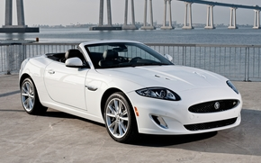jaguar, Cabriolet, white, coast, bridge, jaguar