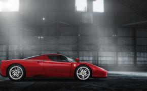 Ferrari, Enzo, rosso, hangar, bagliore, Ferrari