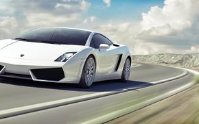 ламборджини, ламборгини, галлардо, белая, передняя часть, пейзаж, небо, облака, скорость, размытость, Lamborghini