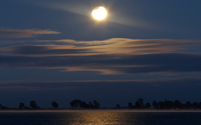 moon, eclipse, lagoon, reflection, fog