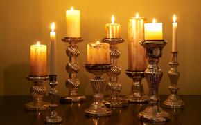 Candles, light, fire, candlestick