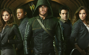 boom, Green Arrow, Oliver Queen, series, Stephen Amell, Katie Cassidy, Colin Donnell, Will Holland, David Ramsey