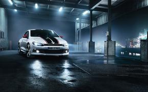 Volkswagen, Scirocco, Hatchback, anteriore, notte, porta, Lampada, Volkswagen