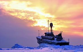 Eis, Schnee, Frost, Schiff, Bekmpfung, Trge, Boot, Waffe, Badehose, Ack-ack, Himmel, Wolken, Sonnenuntergang, Eine andere Technik