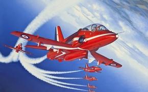 рисунок, учебно-тренировочный, самолет, красные стрелы, Королевские ВВС, Великобритания