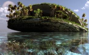 艺术, 景观, 海, 水, 岛, 手掌, 岩石