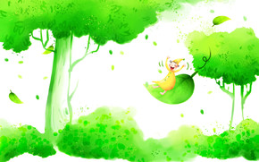 Children's wallpaper, tree, gnome, smile, hood, positive, foliage, grass