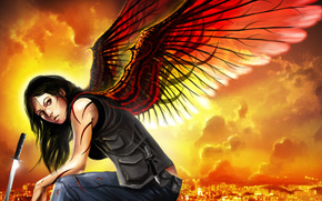 арт, девушка, крылья, меч, город, катана, нож, сидя, взгляд, иллюстрация к книге, Лилит Сэйнткроу
