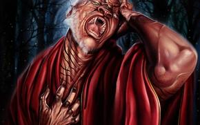 арт, монстр, демон, разные глаза, слеза, клыки, муки, накидка, лес, иллюстрация к книге, Роберт Сальваторе