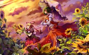 девушки, зонт, зонтик, подсолнухи, цветы, закат